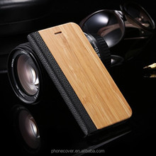 Flip wooden quality phone case for iphone 5, for iphone6, for iphone 6 plus wood and PU leather cases