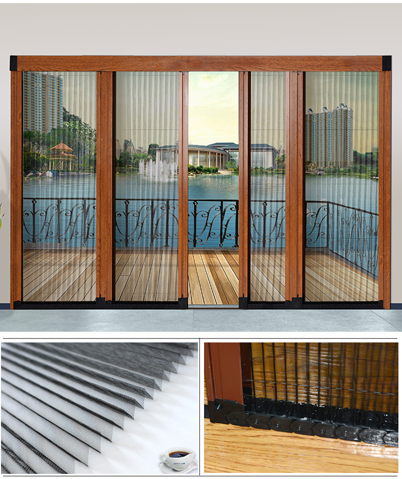 Chinese factory pleated mosquito mesh fly screen casement door