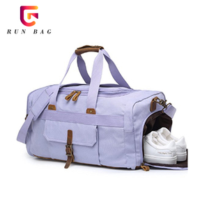 15b32fd89c1b Purple Lavender Canvas Weekender Travel Overnight Sports Duffel Gym Bag  With Shoe Compartment