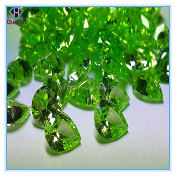 2016 Fashion pear shaped apple green gemstone