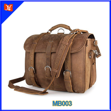 High Quality Real Thick Cowhide Leather Men's Shoulder Briefcase Fit 17 inch leather laptop bags