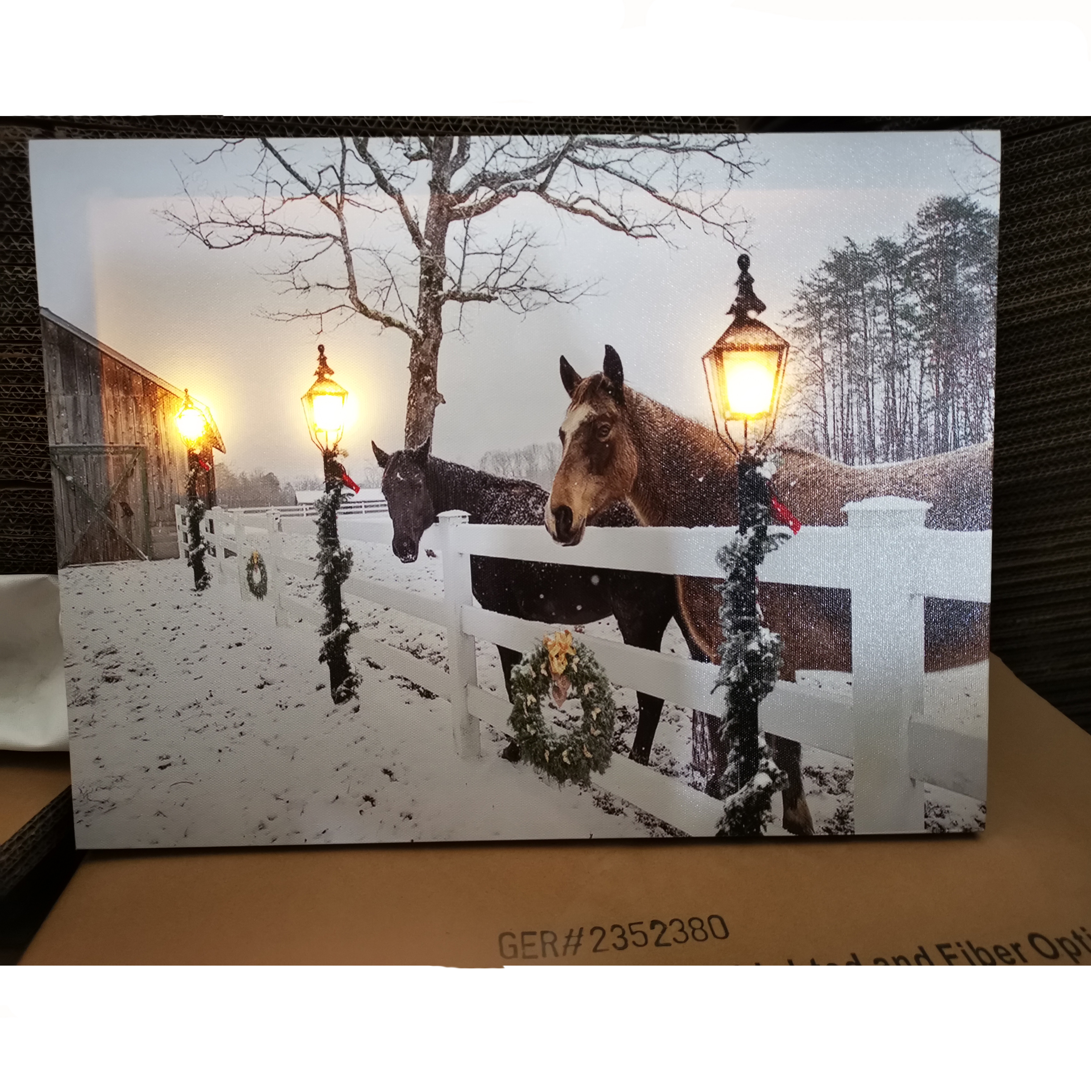 Stock Small MOQ House Decoration Promotional Gift Winter Horse Lighted Wall <strong>Picture</strong>