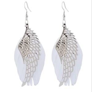 2018 Newest fashion earrings jewelry white angel wings feather earrings high quality silver plating drop earring gift for women