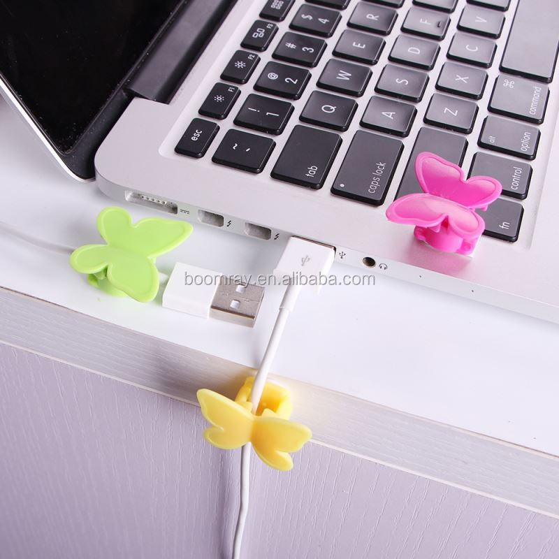1 dollar Plastic adhesive tape butterfly cable holder mobile phone hanging accessories