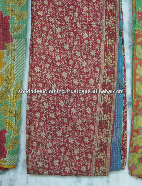 Authentic indian old vintage kantha Quilt work, Reversible 100% cotton Quilts/Throw/Blanket/Gudari