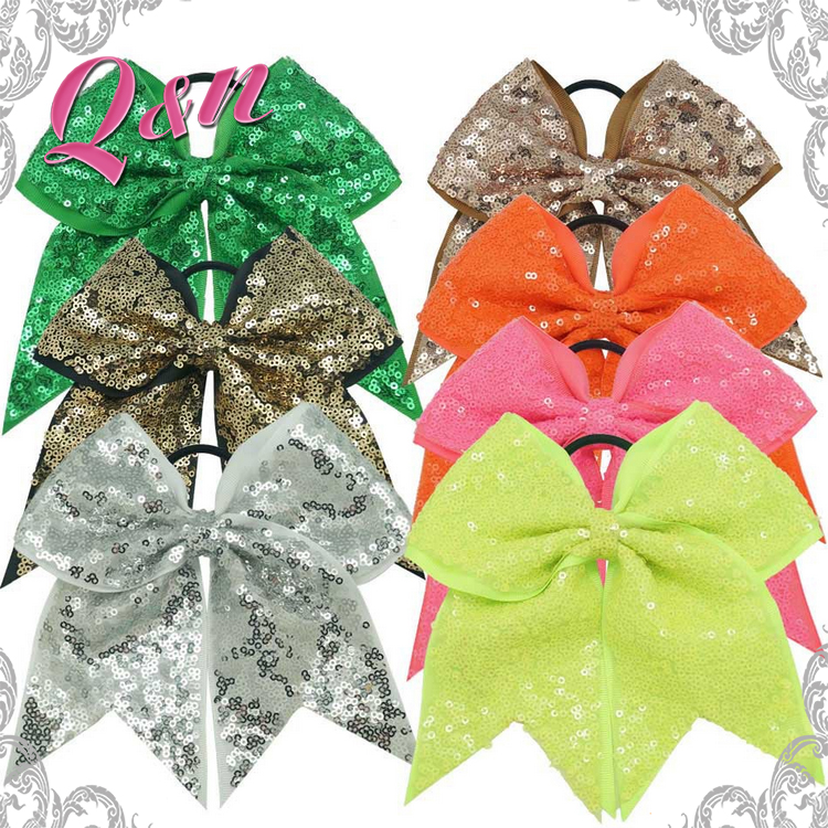 Large Green Sequin cheer hair bows for Cheerleading