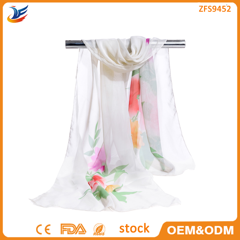 wholesale 100% Polyester chiffon stock flower print summer 2016 hijab scarf