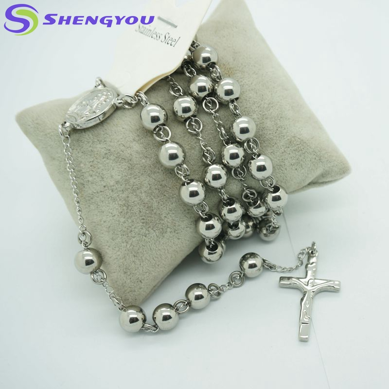 Silver Plated 6mm Beads with Jesus Cross Fashion Chain Beads Necklace Rosary Design