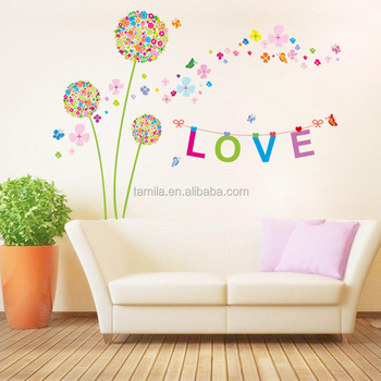 flower wall stickers living room dandelion wall decals 3d pvc ...