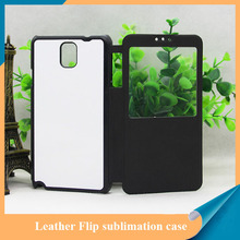 High quality PU leather Flip sublimaiton case for Samsung Note 3 with window open