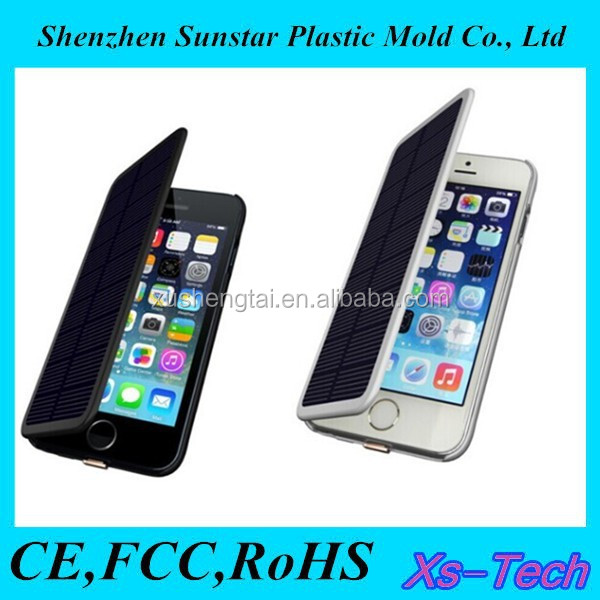 For iPhone 6 extended battery charger solar leather flip battery case
