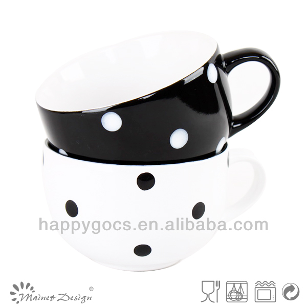 Ceramic stoneware soup bowl with handle white black color with dots