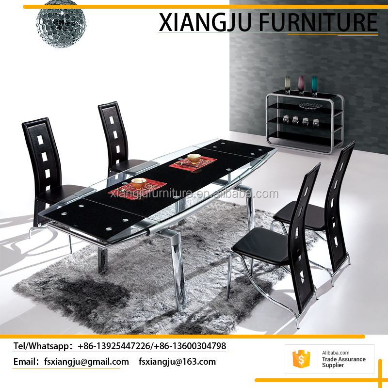 Modern multifunctional metal chrome extendable dining table