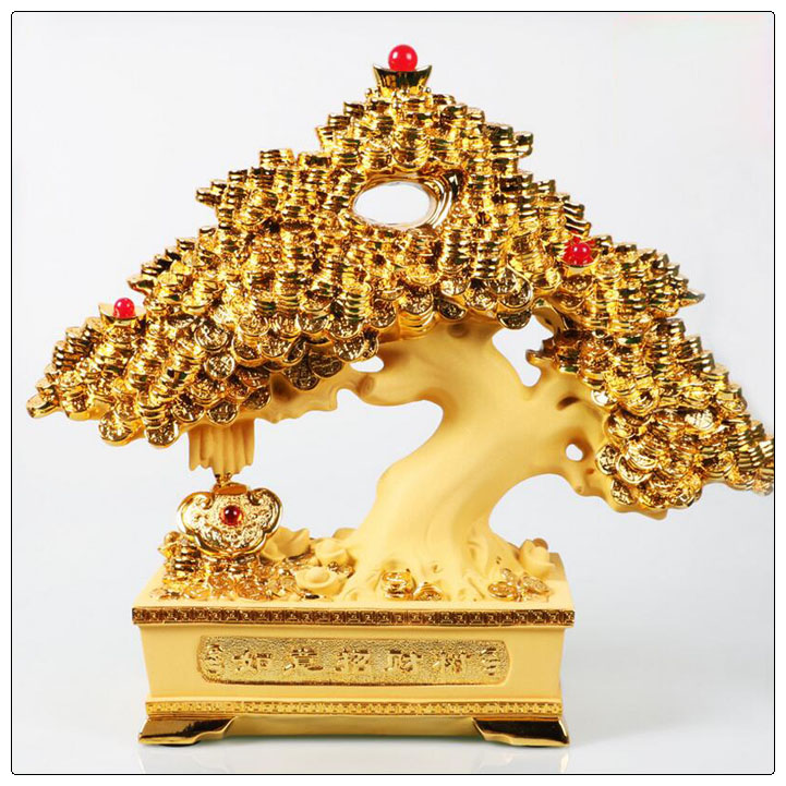 24k golden color Resin Money tree with Chinese Coin, Money tree