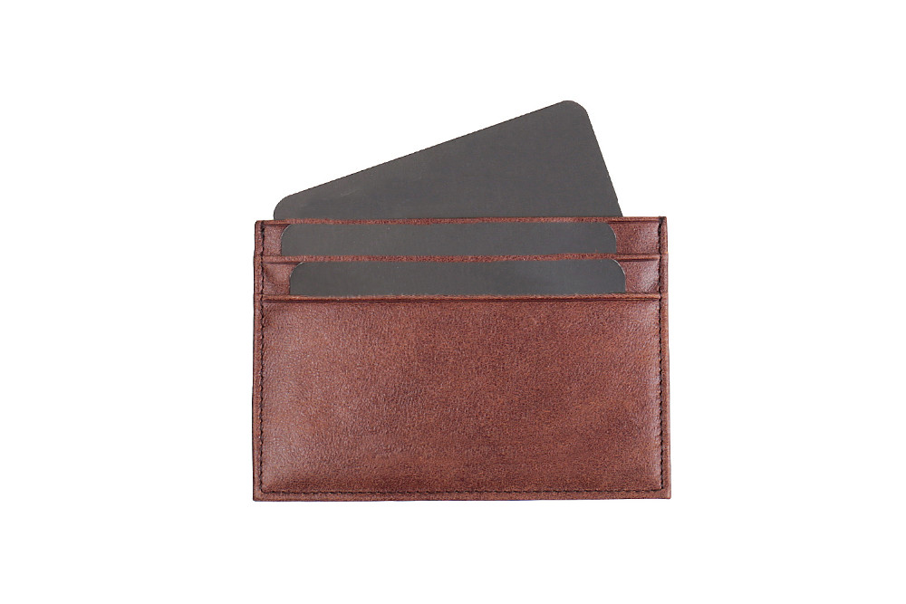 Italian vegetable tanned leather men slim ID card pocket real leather men card holder