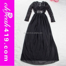 Ready in stock gambar long dress modern black lace long sleeve evening dress