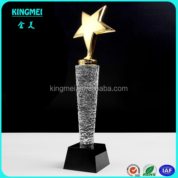 Custom High quality Golden star crystal trophy award