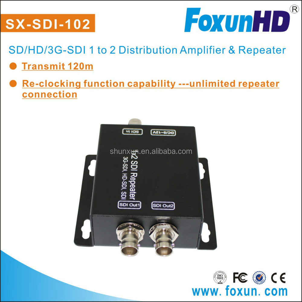 FOXUN 3G/HD COAX 1Input 2 Output Optical Splitter With Re-clocking function