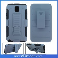 Factory Price For Samsung GALAXY Note 3 III Rugged Kickstand Holster Hybrid Mobile Case