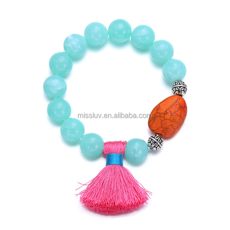 candy color turquoise bead elastic bracelet with tassles DIY resin fringed candy beads bracelet