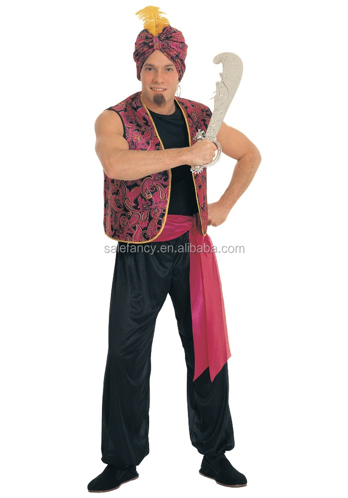 Sultan Costume Outfit for Aladdin Arab Sultan Ali Fancy Dress Dance Costume For Men QAMC-2558