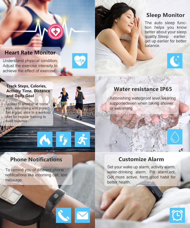 J-STYLE Pedometer heart rate watch /Portable ECG heart rate recorder/Smart band with heart rate monitor