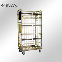 Steel laundry cage cart, supermarket roll cage trolley, stainless steel laundry cart