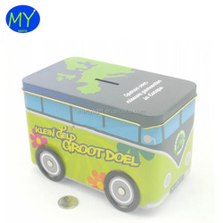 Hot new products bus shape toy coin bank tin box for kids gold supplier