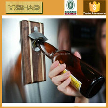 Custom Design Wooden Magnetic Wall Mounting Bottle Opener, Wooden Bottle Opener With Magnet