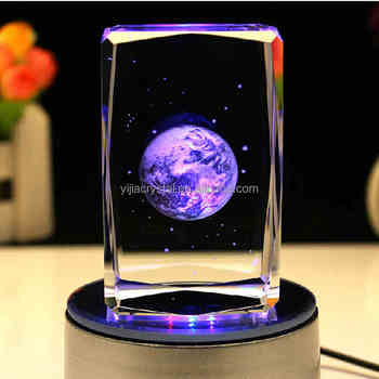 Valentine's Gift Earth 3D Laser Engraving Crystal Glass Block with LED Light Base