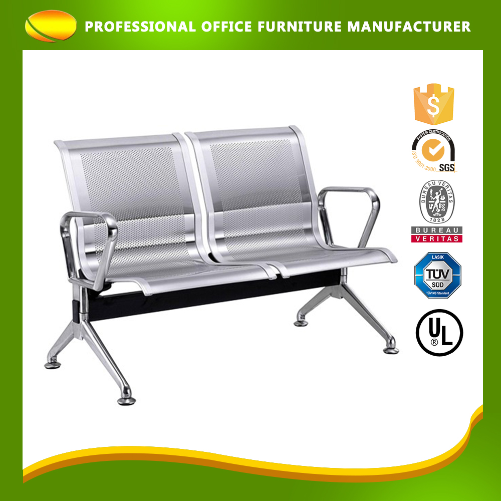 Custom stainless steel airport waiting chair two seater