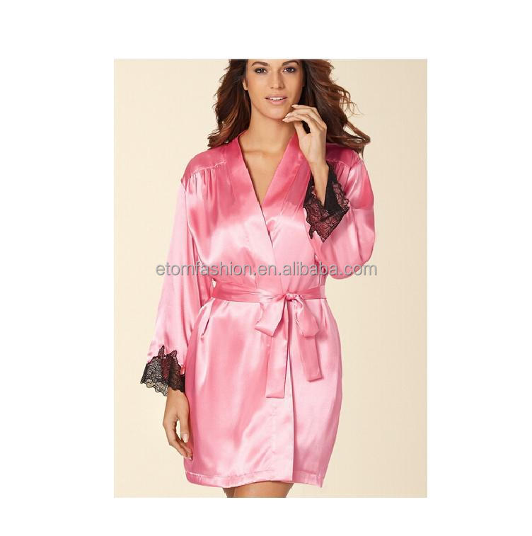 High quality Three Quarter Sleeve Romance Short Satin Wrap Robe for Women E15042