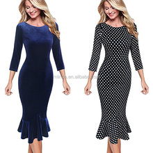 Top Selling Womens Elegant Vintage Long Sleeve Floral Flower Print Velvet Mermaid Midi Mid-Calf Evening Dress