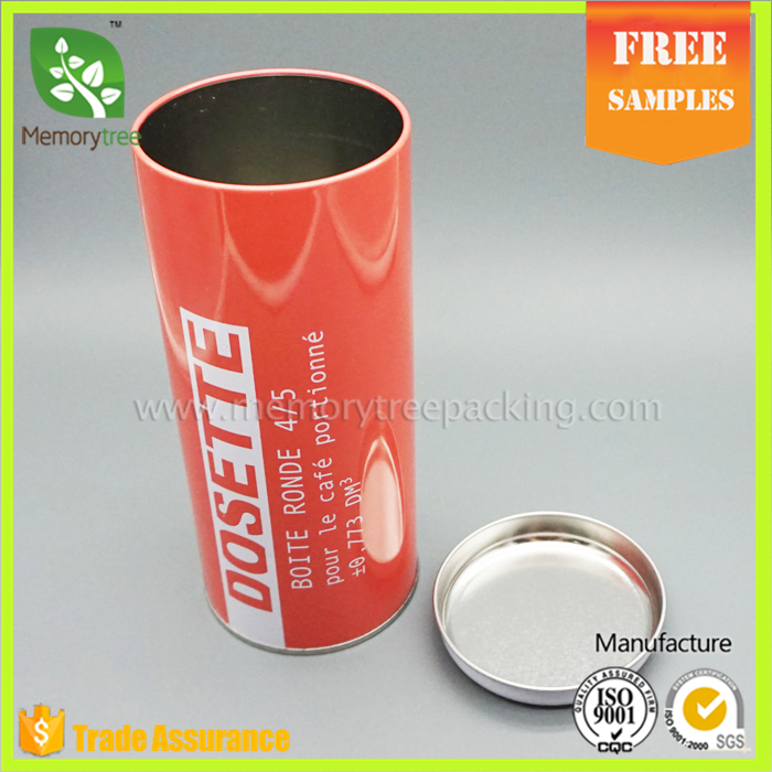 Hot sale cylinder perfume or coffee tin can packaging for one stick of coffee or othe food packaging
