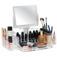 High Quality Transparent Plastic Acrylic Makeup Organizer with Mirror Acrylic Cosmetic Tray