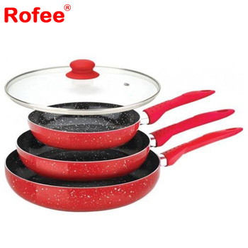 Marble Stone Coated RED Frying Pan's Set of 3 with a Large Glass Lid