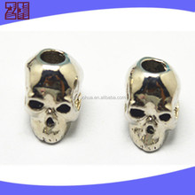 Newest style sterling silver skull beads,zinc alloy skull beads buckle,metal Paracord skull beads for pracord bracelet