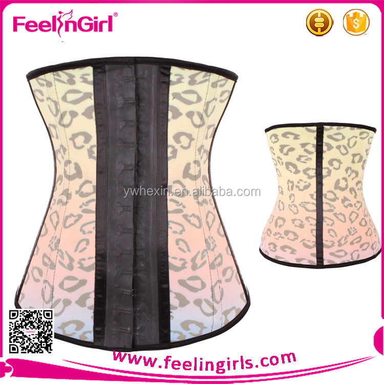 New Fashionable Sexy Leopard Printed Latex Waist Trainer Corset Big Hook