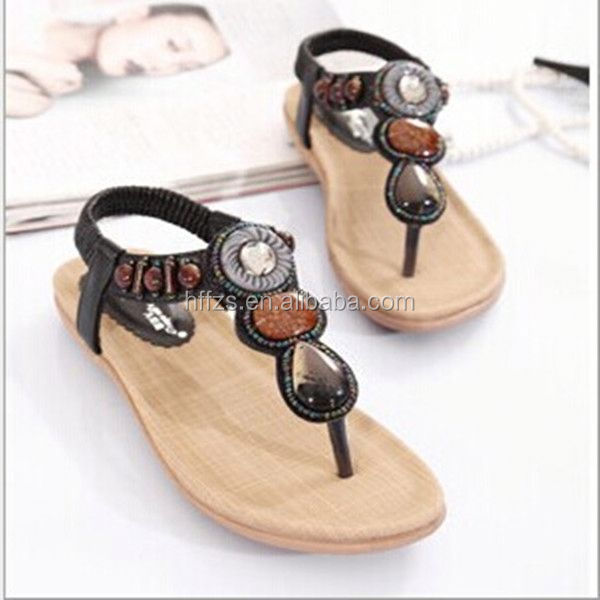 HFR-T0031 2014 latest design large size wholesale flat fashion diamond lady sandals