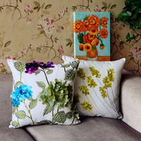 Rural style Latest design linen flowers 3d cushion cover hand embroidery design sofa cushion cover pillow Case