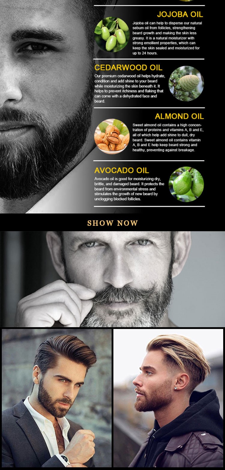 Men's beard Set growth essential oil Bulk Nourishes Smooth and Supple Bottle  beard essential oil