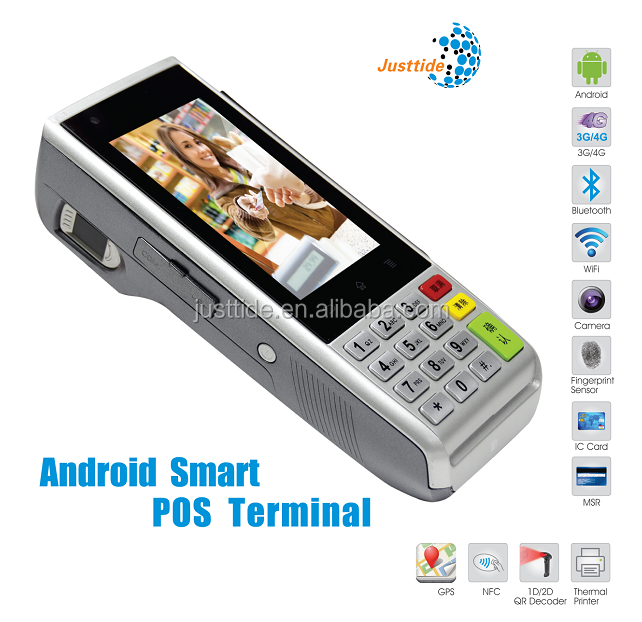 Justtide All-In- One Touch Screen POS Terminal, Android POS Terminal with Printer, EMV Visa Card Reader POS Terminal