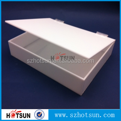 Plexiglass white box with hinged cover
