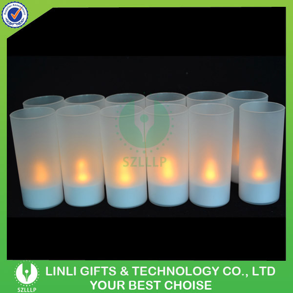 Safety Flameless LED Rechargeable Candles With Frosted Holders, Hot Selling A Set Of 12 LED Rechargeable Candles