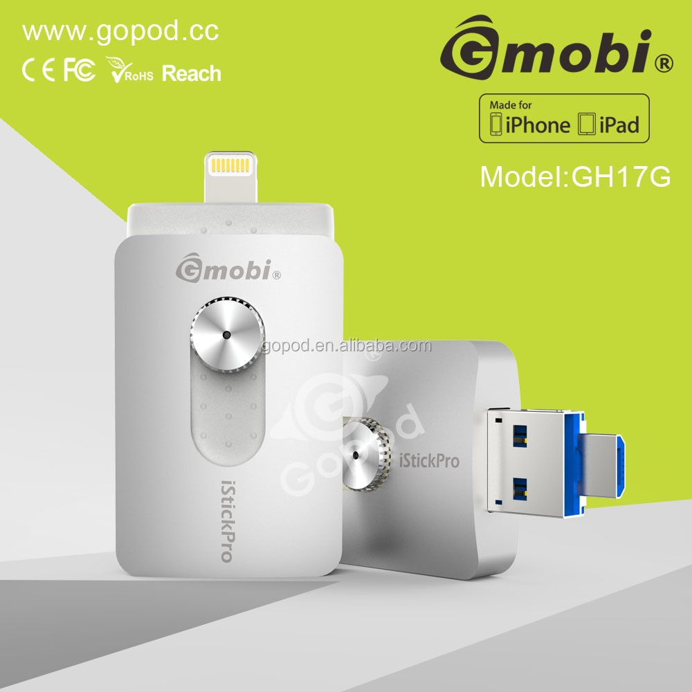 Gmobi iStick USB Flash Drive Expend Storage For iPhone, iPad with File Management-H17G