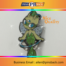 2017 fairy glitter plated lapel pin with color filling, metal zinc alloy soft enamel 1.5 inch balck nickle lapel pin