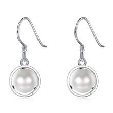 SJSVE156 New jewelry bulk wholesale real 925 sterling silver white gold plated hollow imitation hanging pearl earrings for women