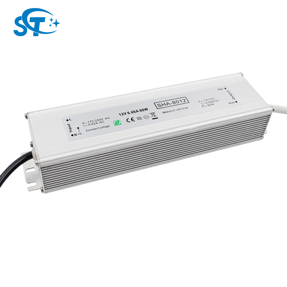 High quality constant voltage 12v 24v 80w 70w led driver waterproof ip67, CE EMC LVD RoHS 3 years warranty