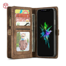 CaseMe Diary Style Durable Leather Wallet Mobile Case for IPhone 8 8 plus Zipper 2 in 1 Smart Phone for iPhone 8 Cases