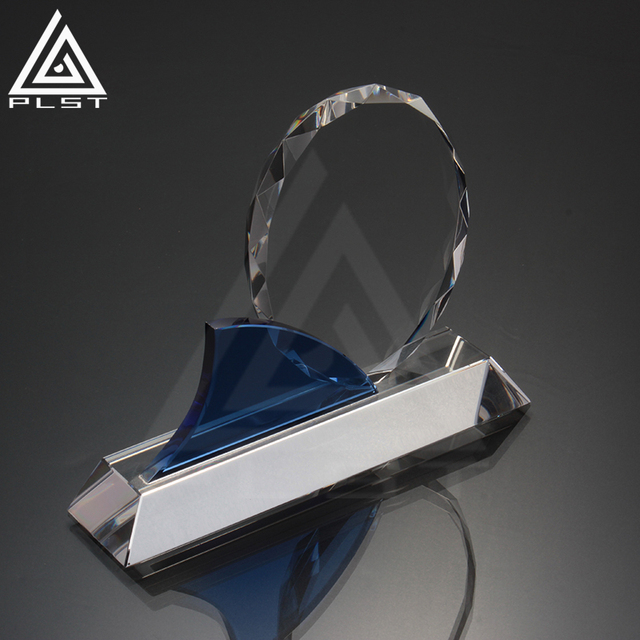 Customized Design Blue crystal dynamix octagon trophy crystal with engraved logo plaque awards in gift box